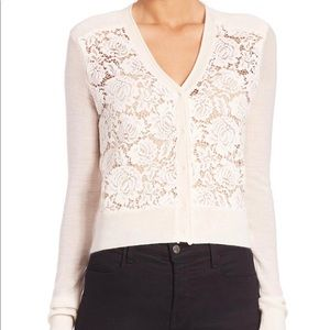 Rebecca Taylor NWT Sz S White Lace Front Cardigan